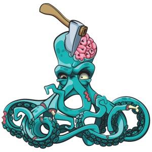 Octopus Zombie Horror Halloween Tintenfisch Gehirn
