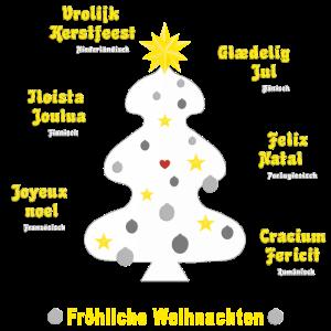 Weihnachtsgrüße in 7 Sprachen mit weißem Baum
