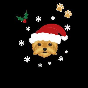 Hund Yorkshire Tierliebe Geschenk Weihnachtsmütze