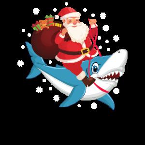 Weihnachtsmann auf Hai