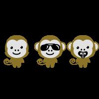 modern hipster three monkeys