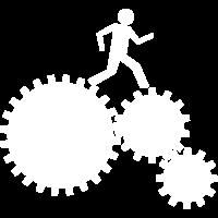 Arbeiter im Uhrwerk - weiss