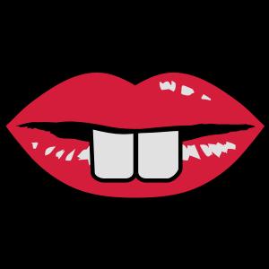 Ein roter Mund mit Hasenzähne