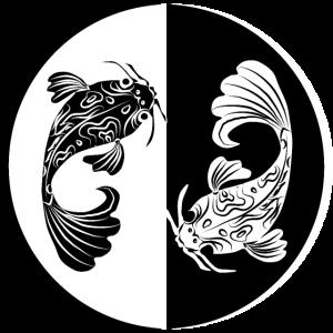 Koi japanischer fisch Schwarz Weiss Glücksbringer