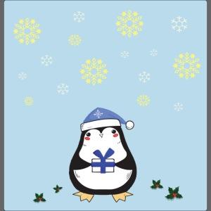 pingouin de Noel sur fond bleu