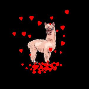 Lama Alpaca Valentinstag Herzen Geschenk süß