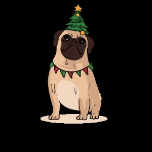 Cute Pug Merry Christmas Dog Christmas tree Gift