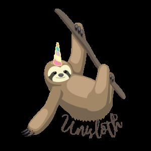 Unisloth Distressed Magic Sloth Unicorn Design