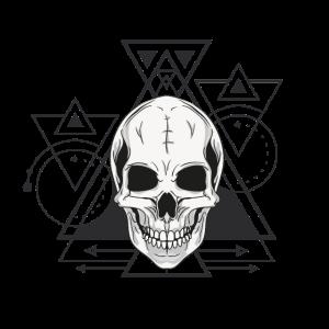 Totenkopf Grafik mit Geometrischen Figuren