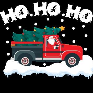 Weihnachtsmann mit Truck und Weihnachtsbaum HoHoHo