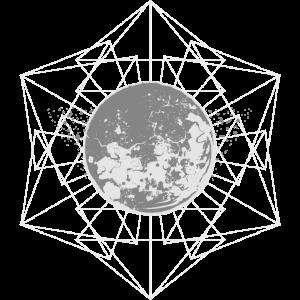 Mond gefangen in geometrischer Figur