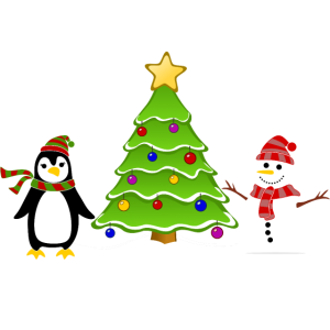 Pinguin und Schneemann Kindermotiv
