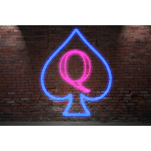 Neon Lettering Queen of Spades Poster on Wall