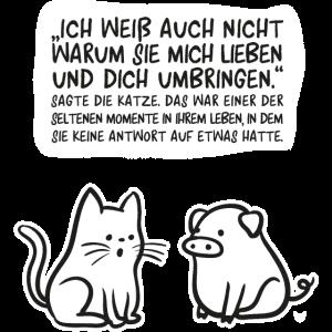 Katze Schwein Vegan T-shirt Spruch vegetarisch