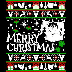 Niedliches Maine-Waschbär-Weihnachtskatze-Weihnachtsmann-Geschenk