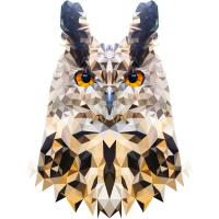 Eule - Uhu - Polygon - WPAP -Pop-Art
