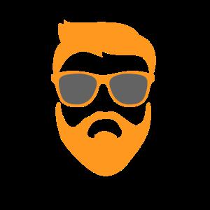 Hipster Kopf Konterfei orange mit Sonnenbrille