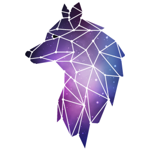 Geometrischer Wolf | Low Poly Galaxie Wolfsrudel