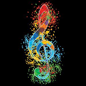 Violinschlüssel-Farben-Spritzer-Kunst bunt u. Vibrierend