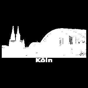 Stadt Köln Kölner Skyline weiß Geschenkidee