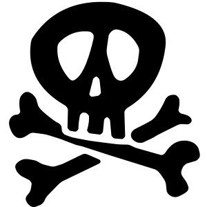 Comic Pirate Skull For Black Shirts