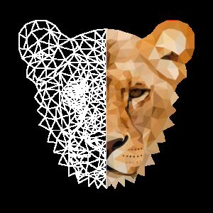Löwe Polygon Raubtier Katze Wildnis Tiger Geschenk