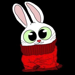 Flauschiges Häschen in flauschigen Pullover Tshirt