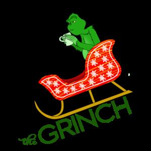 Zynischer Grinch will Weihnachten klauen Geschenk