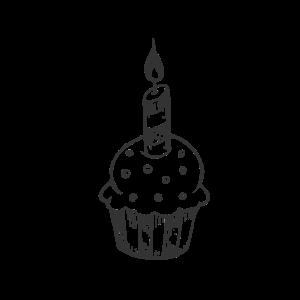Muffin mit Kerze