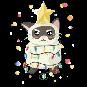 Mürrische Katze zu Weihnachten