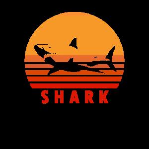 Vintage Weißer Hai Shirt Haifisch Haie Geschenk