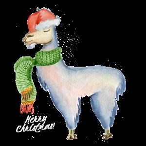 lustiges Lama T-Shirt zu Weihnachten