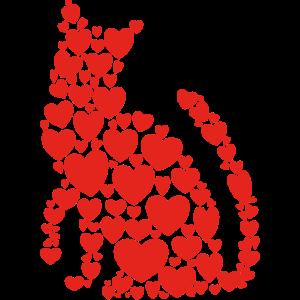 Katze Herzen Katzenliebe Geschenk Kätzchen Kitten