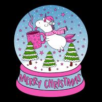 Glühweinhorn Einhorn Weihnachten Schneekugel pink
