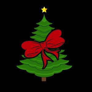 Weihnachtsbaum mit roter Schleife Weihnachten