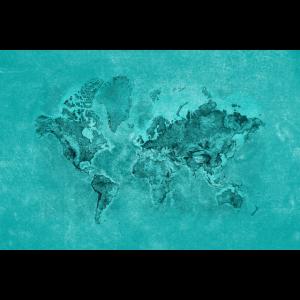Türkis-Blau-strukturierte Weltkarte