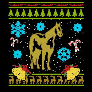 Hässliches Weihnachtsstrickjacke-Hemd Malen Sie Pferdeshirt