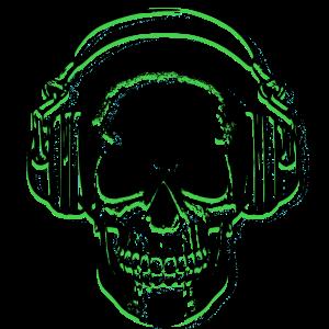 Headphone Skull Green