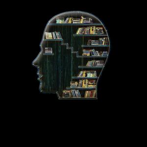 Kopf gefüllt mit Büchern