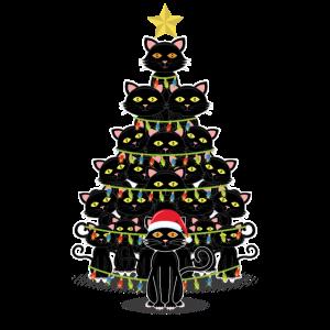Schwarze Katzen Weihnachtsbaum Katze Christmas