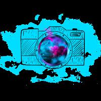 Fotoapperat gezeichnet Objektiv Retro Kamera