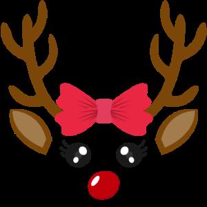 Mädchen Süßes Rentier Gesicht Weihnachten Xmas