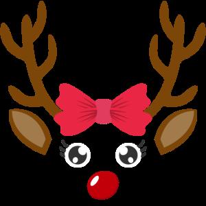 Süßes Rentier Gesicht Mädchen Weihnachten Xmas