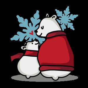 Eisbär mit Kind Wintermotiv