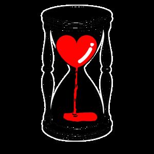Herz in der Sanduhr Liebe ist vergänglich Geschenk