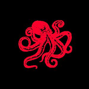 Oktopus Krake Kraken Shirt rot