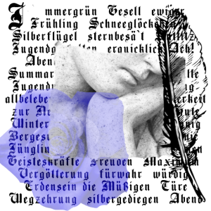 Engel mit Text und blauer Rose