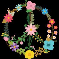 Peace Sign Zeichen mit Blumen