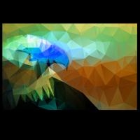 Adler reduzierte Polygone (Blau)
