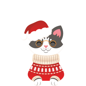 Santa Claus Claws Christmas Geeky Cat